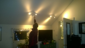 new ikea tross LED track lights in the master bedroom