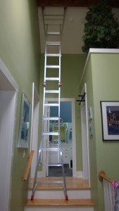 ladder in upstairs hall to hang disco ball