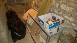 basement trash pile for dump / transfer station