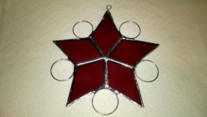 raspberry stained glass snowflake star