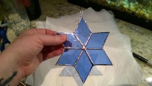blue 6 pointed stained glass star of david for auntie alice