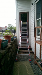 setting up my little giant ladder on the back steps to prime the back door