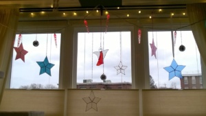 the stained glass stars i made last winter
