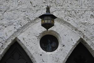 beautiful details in the courtyard leading to castle lichtenstein