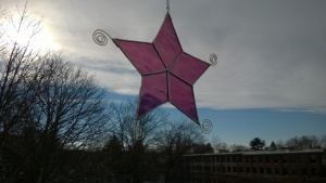 raspberry swirl stained glass snowflake star