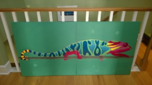 progress so far on the chameleon mural. far from done