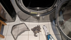 the lint hidden underneath our dryer's lint screen
