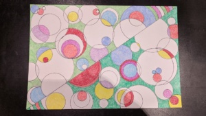 crayon art 4 - colored circles on diagonal and scalloped edges