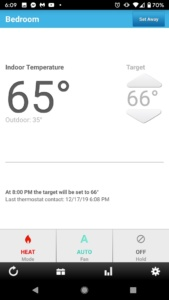 a screen shot of our lux smart thermostat apps on our android phones