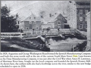original ipswich river dam and riverwalk bridge 1828