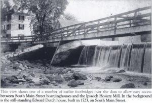 one of the original riverwalk bridges and dam ipswich