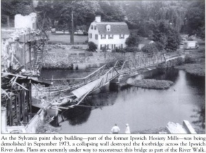 philemon dean house ipswich and original riverwalk bridge 1973