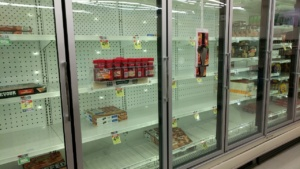 the new normal - hardly any frozen pizza at shaws in ipswich