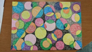 crayon art 2 - colored circles over a triangle