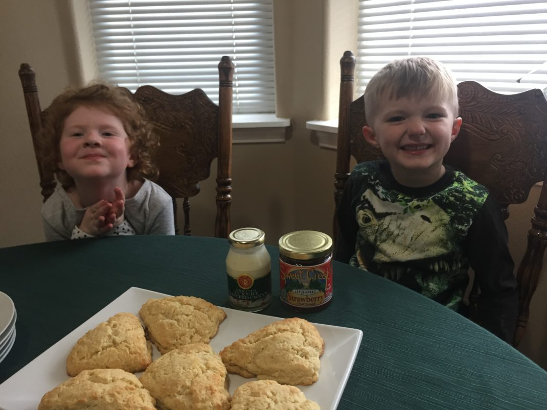 Kids making scones and clotted cream