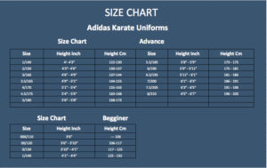ADIDAS KARATE UNIFORMS SIZE CHART