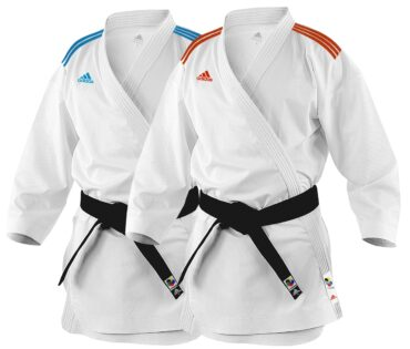 ADIDAS KARATE ADIZERO UNIFORM WITH RED AND BLUE STRIPES K0