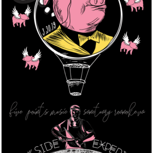 "Monacled pink pig with swoop of yellow hair is encircled by a hot air balloon flying high above the moon flanked by 4 pink flying pigs. A thought bubble says, ""by the way, which one's pink?""."