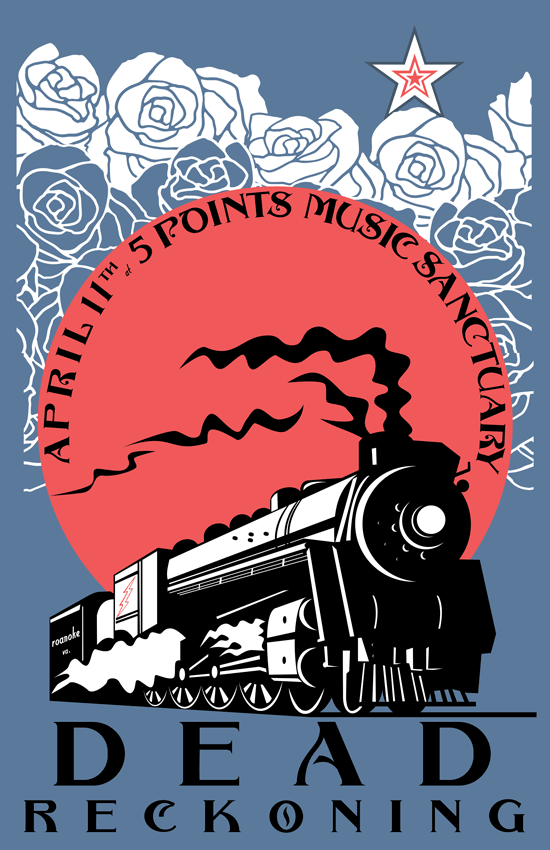 A steam engine pushes through a field of roses with a star sitting atop.