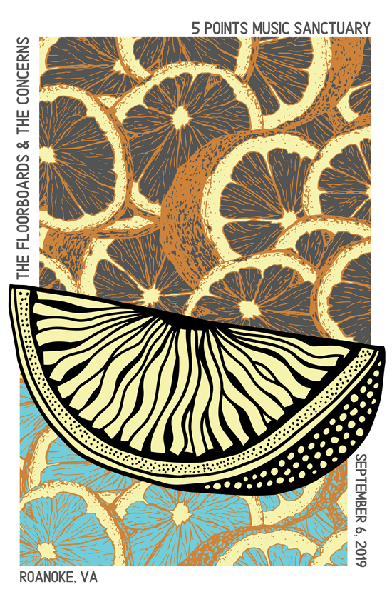 A slice of citrus fruit graphically pops off a background of citrus slices in teal and orange.