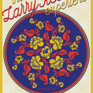 Mandala of red and yellow flowers within a blue circle.