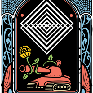 An Art Deco border frames a red tank with a single yellow rose rising from within and encircling the cannon. Geometrically arranged squares hover above.