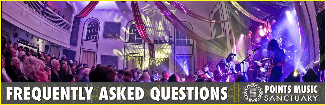 Frequently Asked Questions w pano image of the Dead Reckoning at the Sanctuary. Giant red drapes decorate the room with purple and gold lighting.