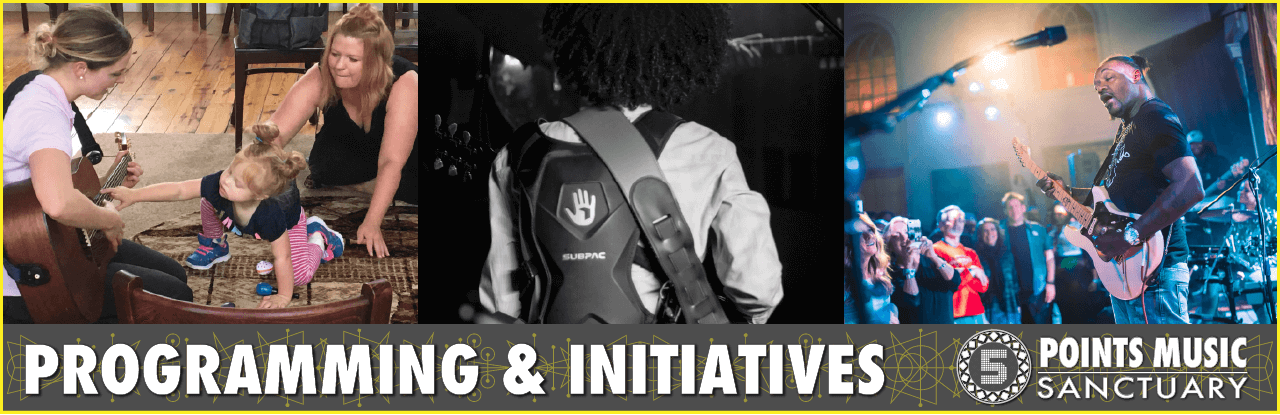 3 images of music teacher w toddler and mom, guitarist Taz Niederaur playing with a Subpac, and 3. Eric Gales, guitarist, hitting note with eyes closed, audience immersed, and lighting perfectly attuned.