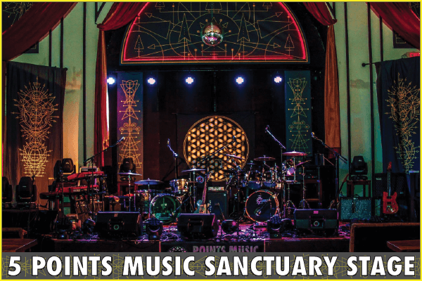 5 Points Music Sanctuary Stage Setup w gold, purple, red lighting, sacred geometry art designs by Christopher Cobb, disco ball with red led backlit 5 Points Arch at the top