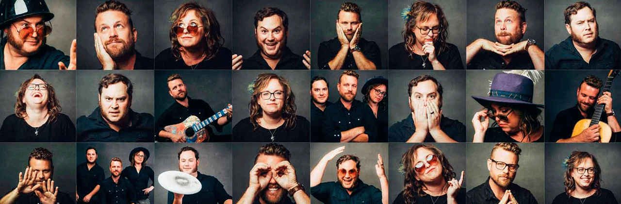 A mosaic of headshots of the band members making odd expressions.