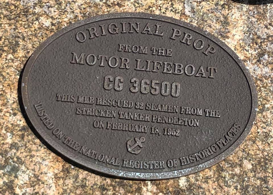 Landmark Signage -The propeller from the Coast Guard Motor Life Boat CG 36500,