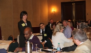 Amy listening to the Pennsylvania Realtors Association members practicing their PAC pitches.