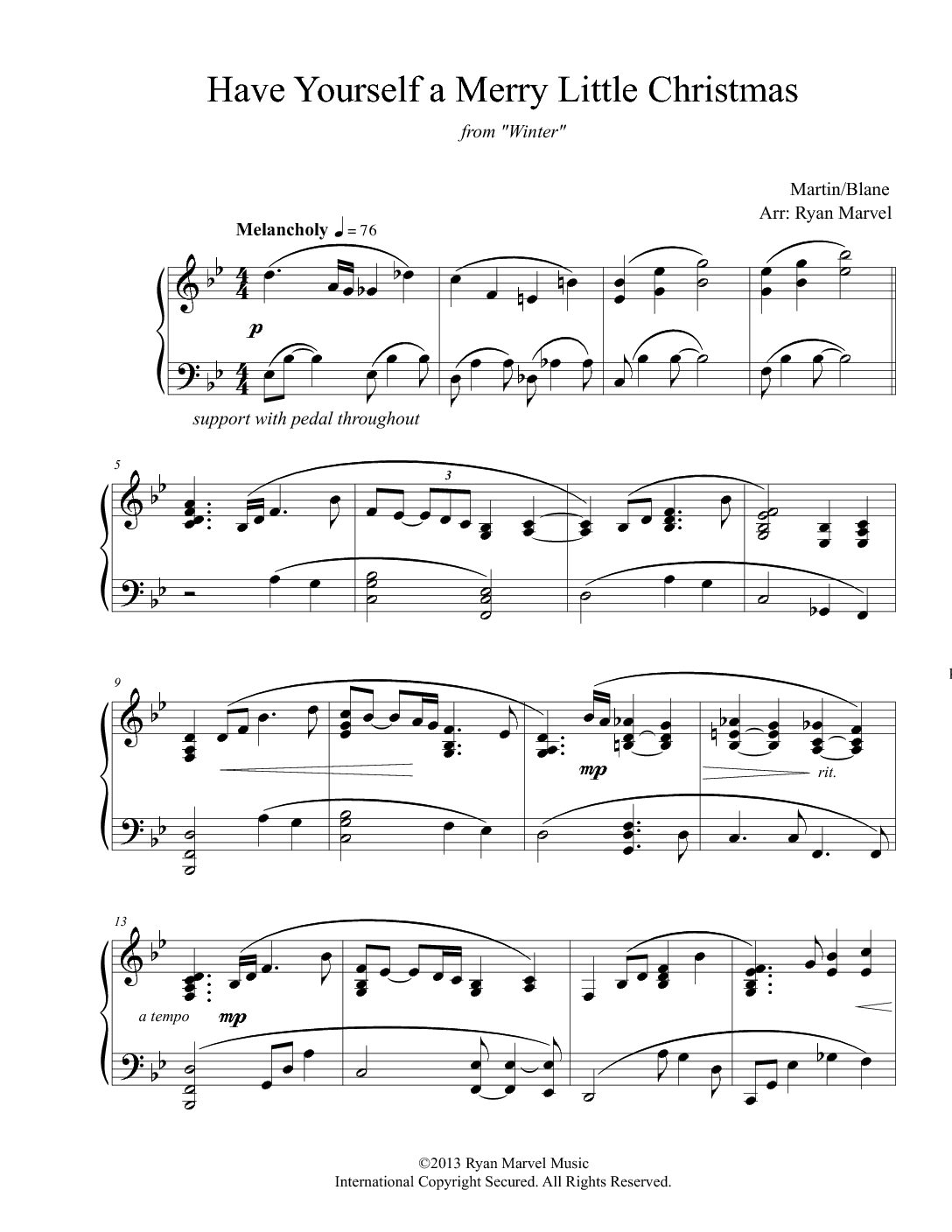 Have Yourself A Merry Little Christmas Chords.Sheet Music Downloads Ryan Marvel