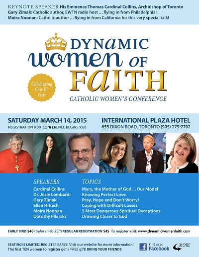 Catholic speaker Gary Zimak will be speaking at the Dynamic Women Of Faith Catholic Women's Conference in March 2015