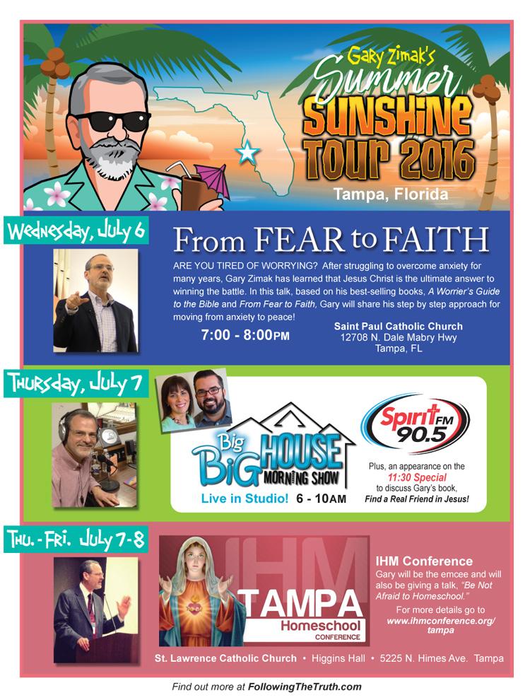Catholic speaker and author Gary Zimak is heading to Florida for the Gary Zimak Summer Sunshine Tour 2016!