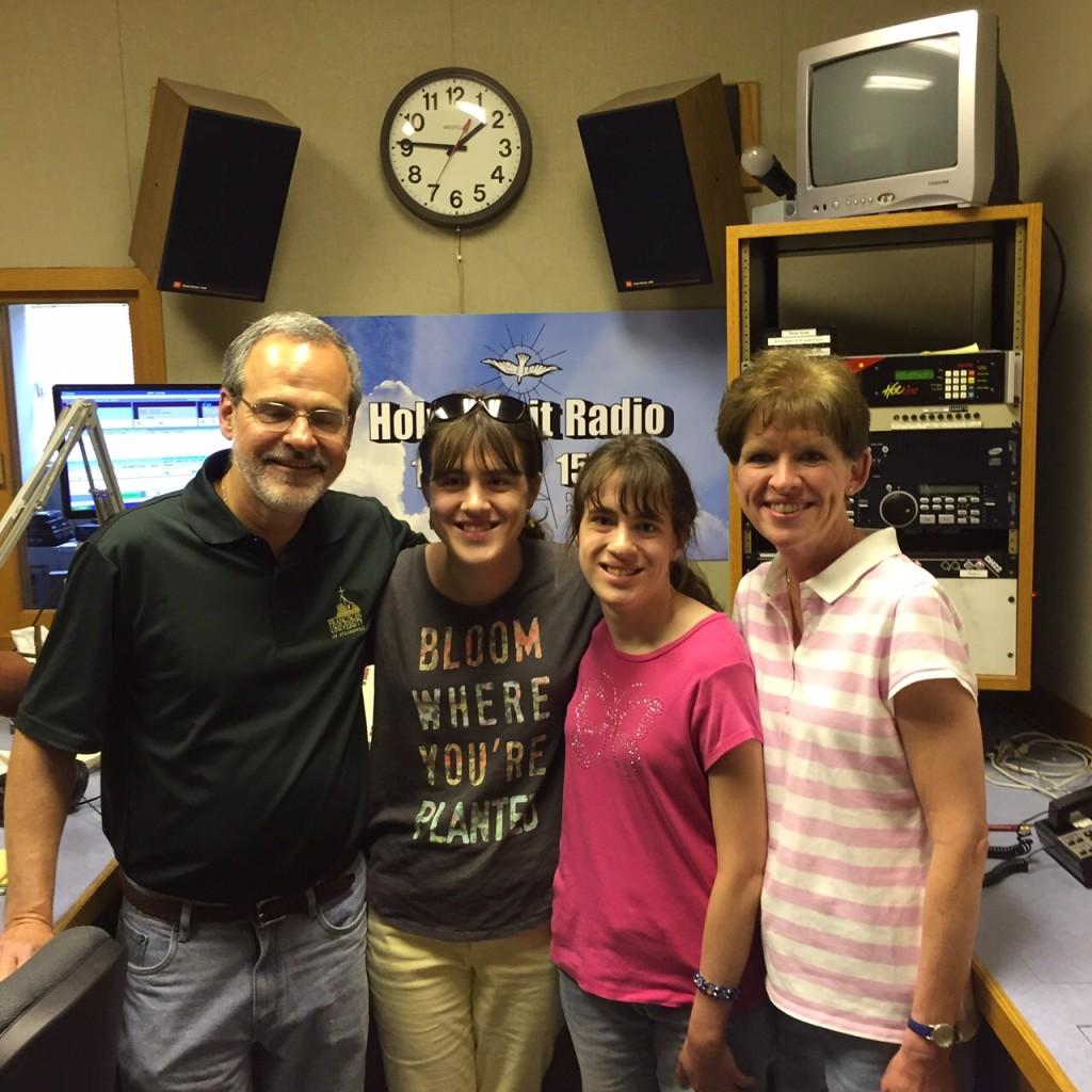 Gary Zimak and family in the studios of Holy Spirit Radio