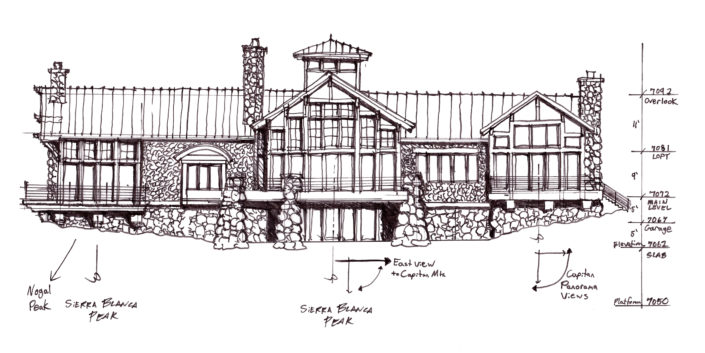 Timberframe Sketch New Mexico Tabberson Architects Custom Homes