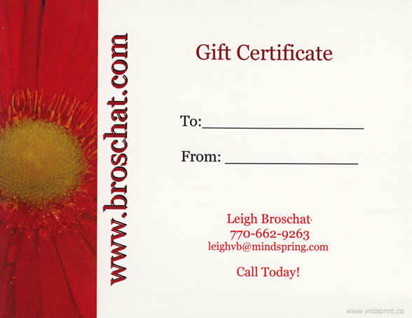 Massage Gift Certificate Back