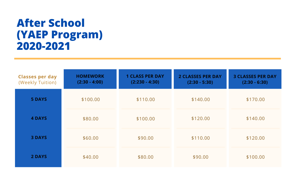 YAEP program tuition rates