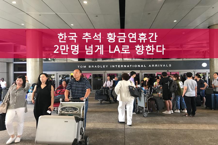 한국 추석 황금연휴간 2만명 넘게 LA로 향한다