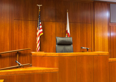Judges bench in an American courtroom. phtoo by Jason Doiy