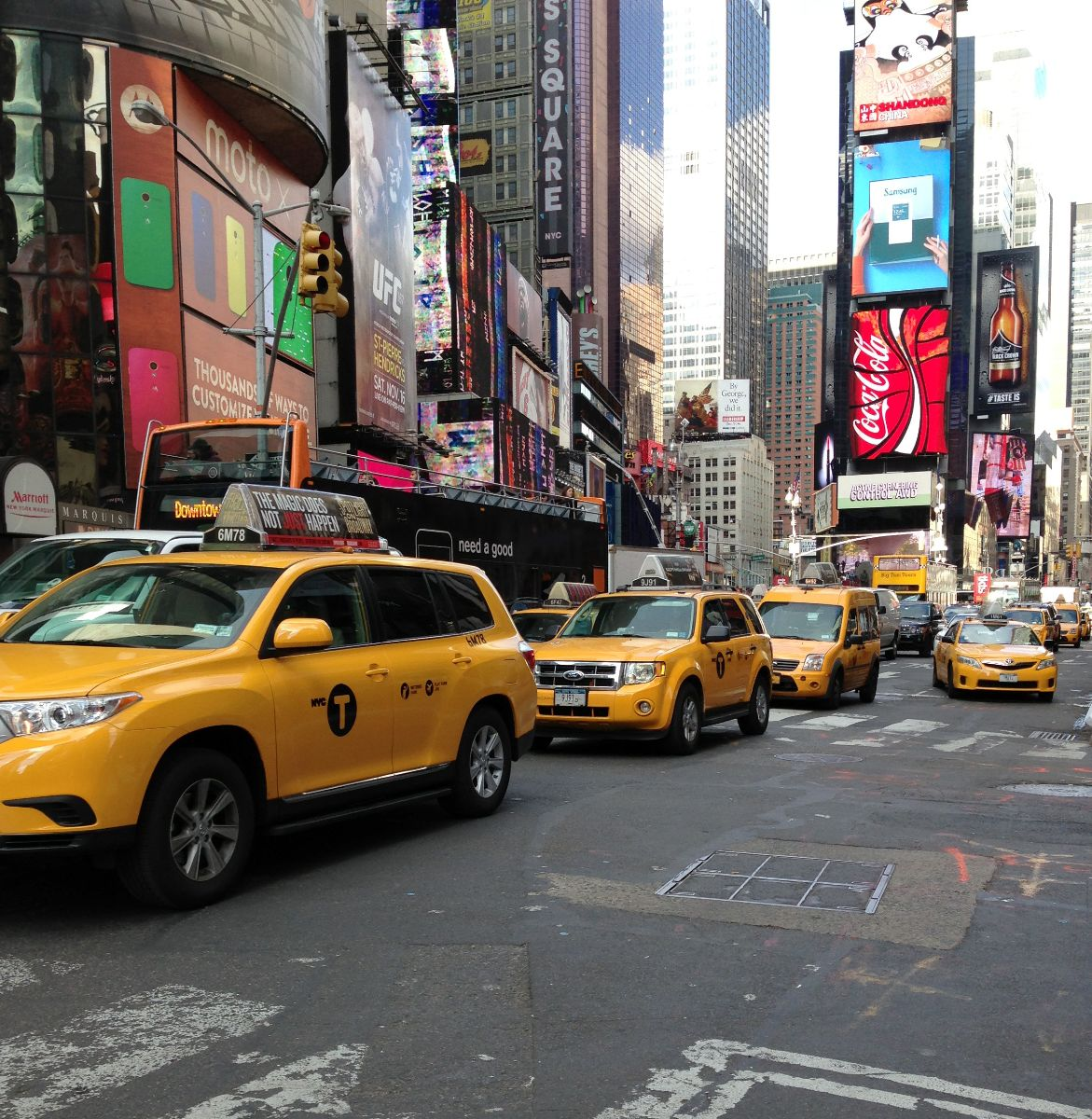 times square, taxi, broadway, nyc