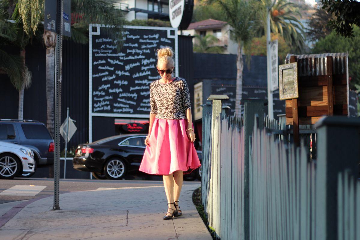pink valentino dress, hot pink valentino skirt, midi skirt, zara pointy toe flats