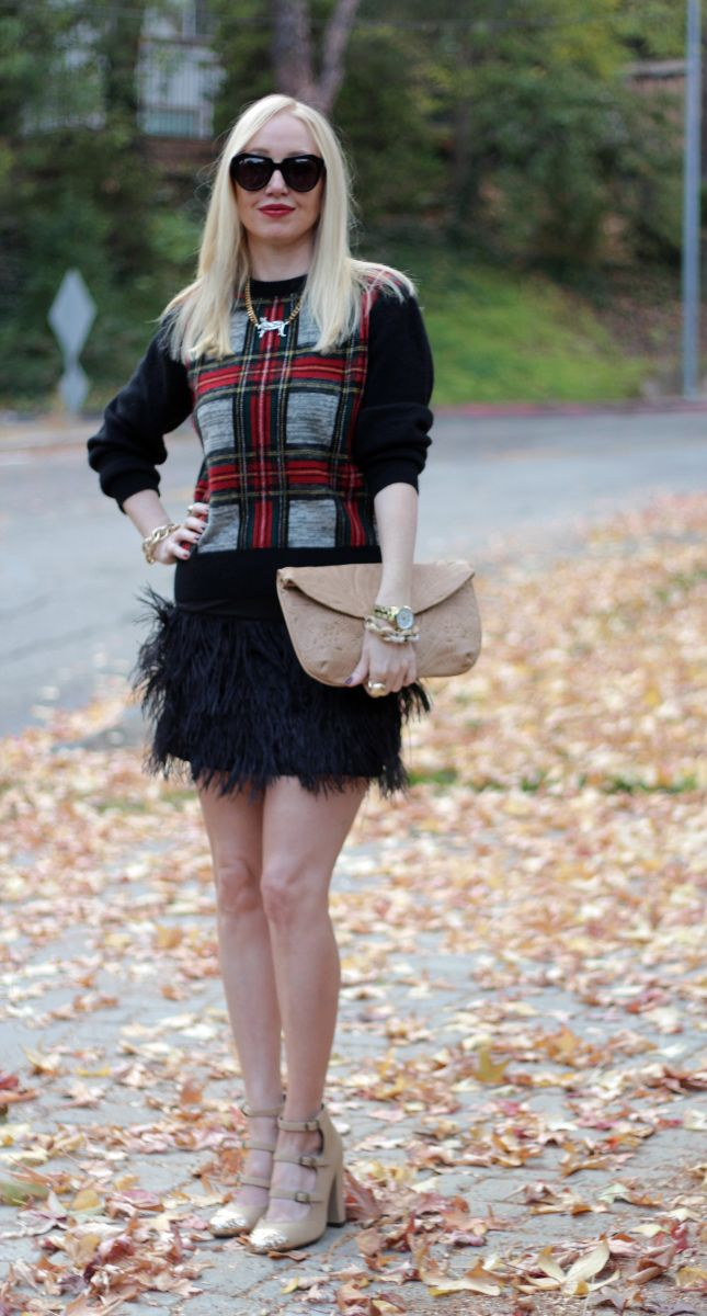 plaid sweater, feather skirt, currently crushing