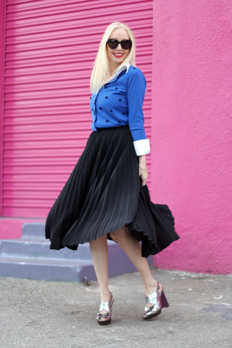 karen walker sunglasses, black pleated midi skirt, target embellished cardigan, marni silver wedges