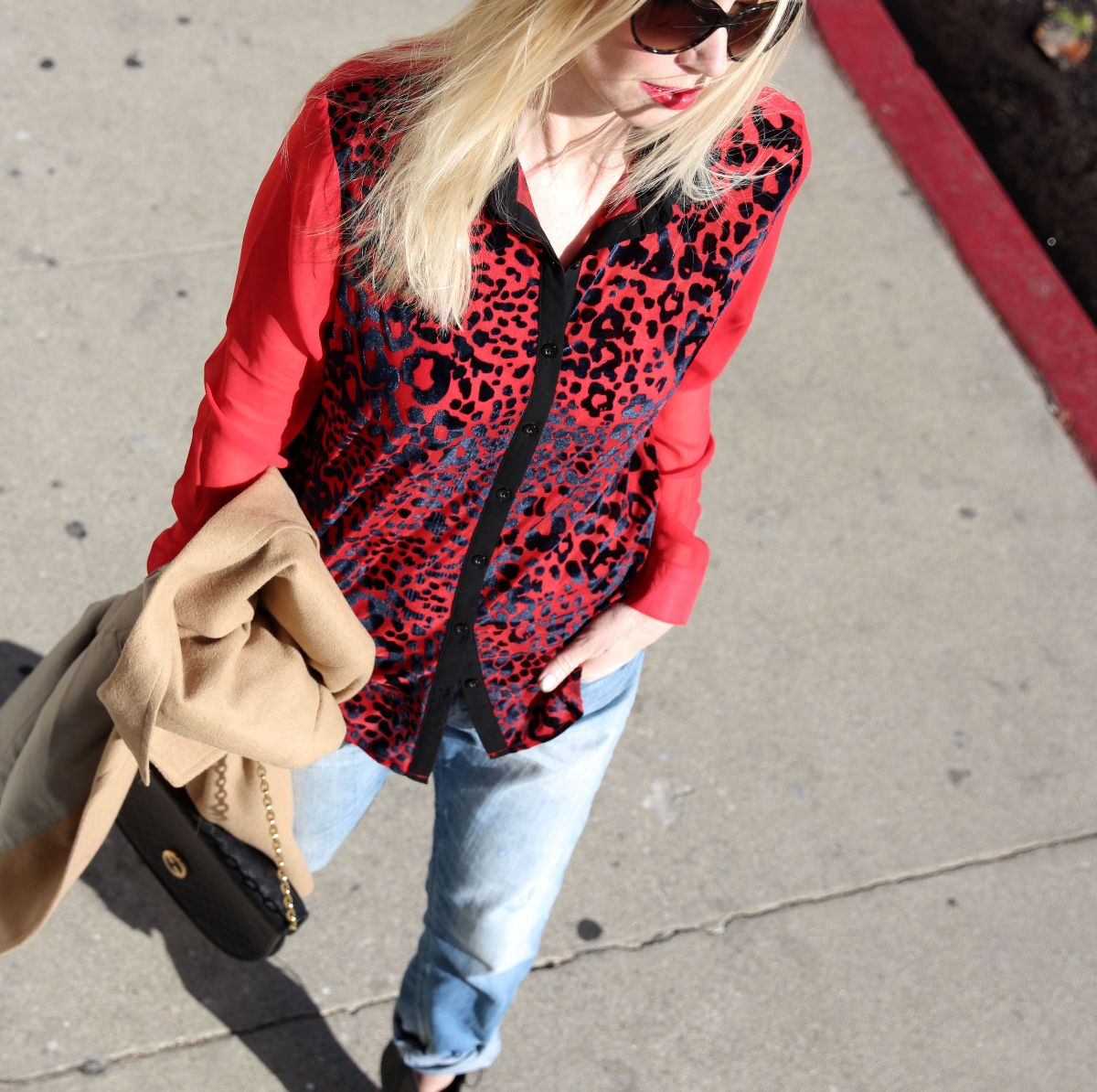 Boohoo red leopard shirt, currently crushing