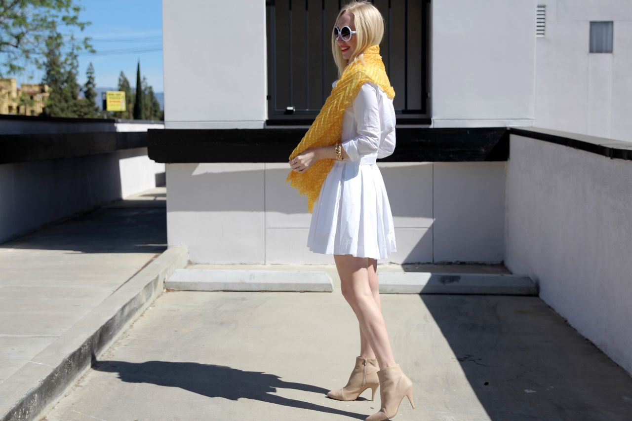 currently crushing, dvf white shirt dress, fraas dottie scarf