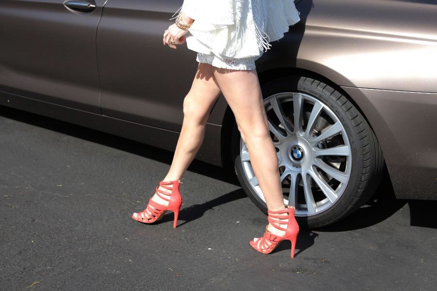 currently crushing, sole society coral heels, boohoo white romper