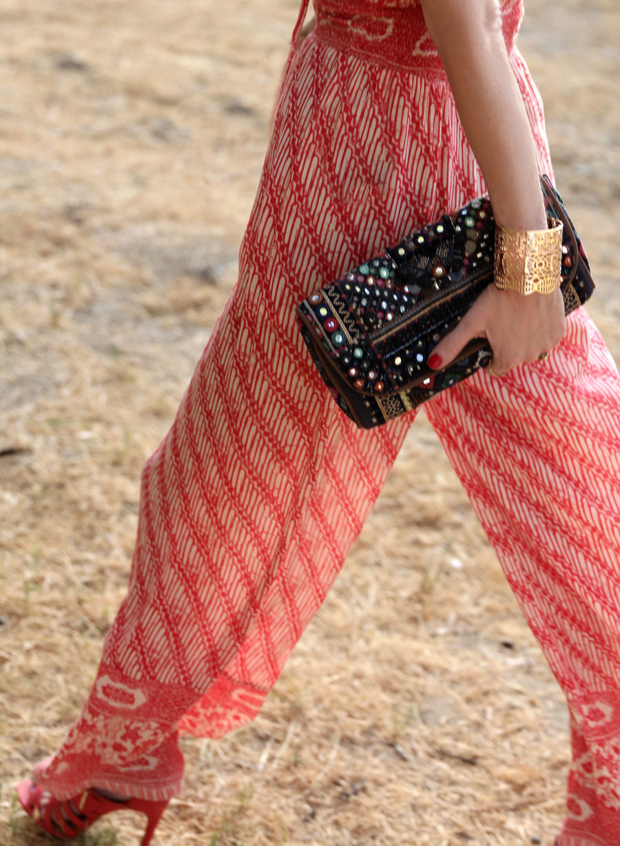 currently crushign, ecote quilted mirror clutch, free people smocked jumpsuit