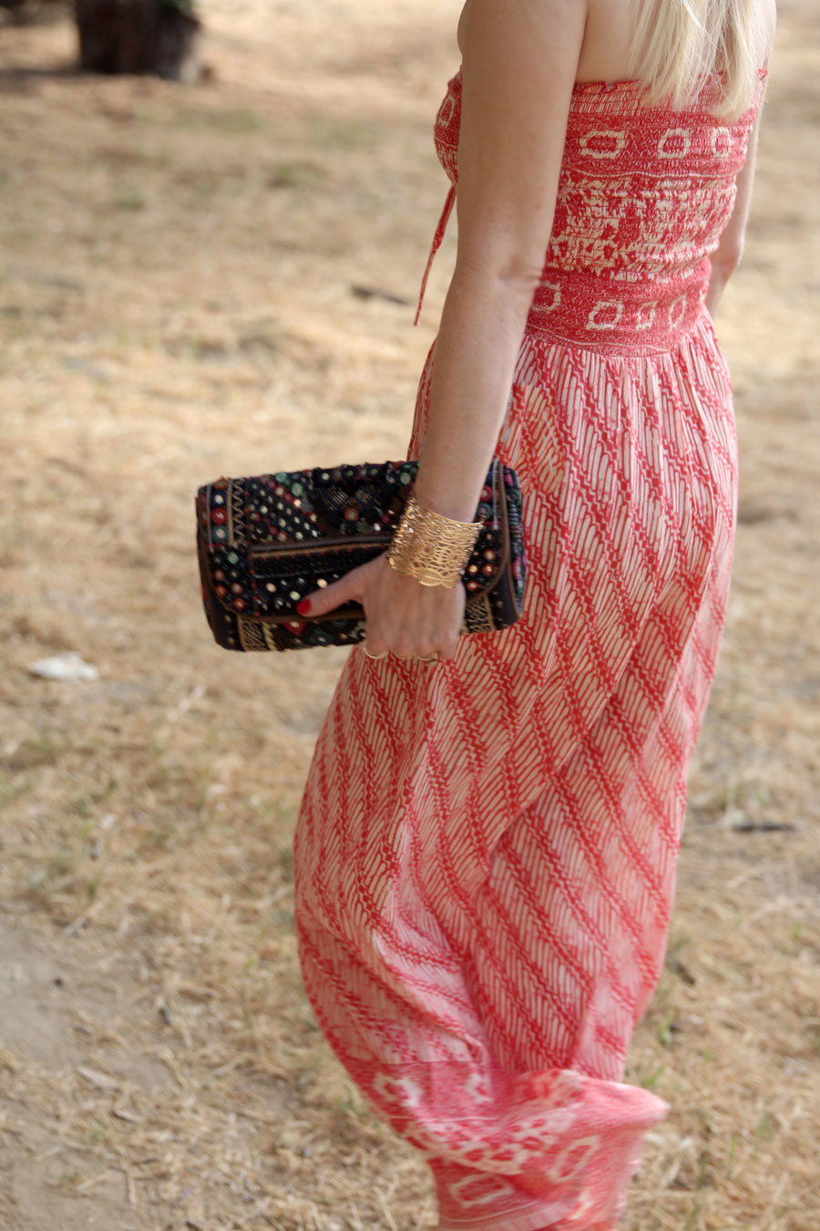 currently crushing, ecote mirrored clutch, free people smocked jumpsuit